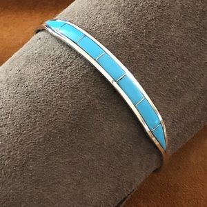 Jewelry - Inlaid Turquoise Silver Zuni Ladies Cuff Bracelet